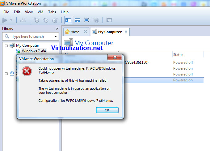 VMware workstation VM ownership error