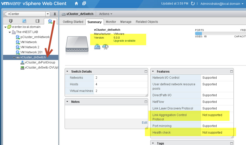 VMware virtual distributed switch